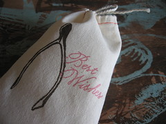 new wishbone sets (somethings hiding in here) Tags: text gocco printed wishbone muslinbag