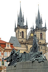 Czech-03859 - Jan Hus & Church of Our Lady before Týn