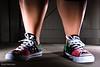 Wife's New Chucks (The Eye of Brad) Tags: lighting woman feet rock stars grid foot shoe star shoes all stitch ct spot rubber ox converse kicks karin sb3 sole rim chucks 580ex laces snoot 430ex lumiquest bradherman honl strobist 40d controltl 109949f
