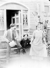Motion picture scene (1916) (State Library and Archives of Florida) Tags: costumes woman men three actors bucket florida stripes jacksonville curtsy houndstooth 1916 actresses statelibraryandarchivesofflorida vimcomedycompany ethelburton ethelburtonpalmer walterstull
