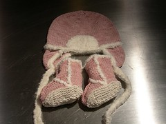Suede baby hat and booties