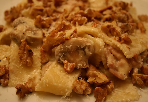 Mushroom parmesan and walnut pasta