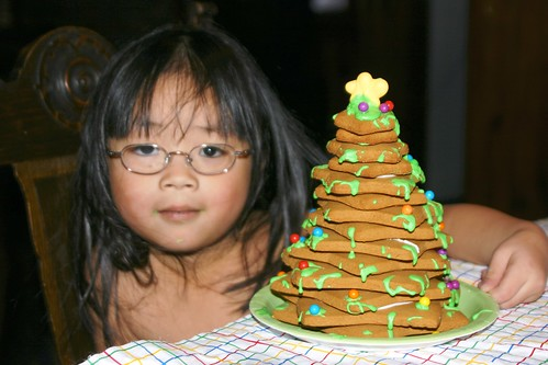 Olivia and Her Finished Gingerbread Cookie Tree by Pictures by Ann.