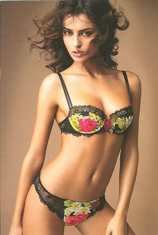 Lise Charmel  Lingerie underwear flowers bra panties brunette