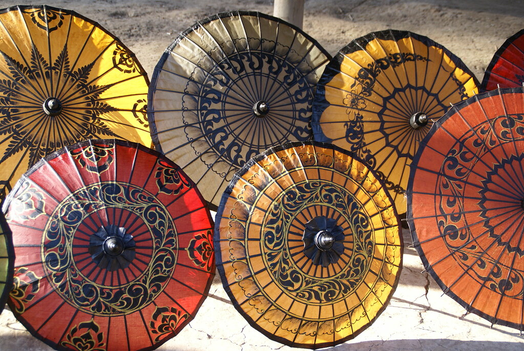 Colorful handmade parasols made in Pathein