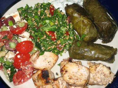 stuffed grape leaves, tatziki,  gf tabbouli, feta salad and grilled chicken kabobs