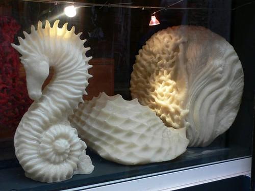 Sculptures in a window near Piazza Mattei