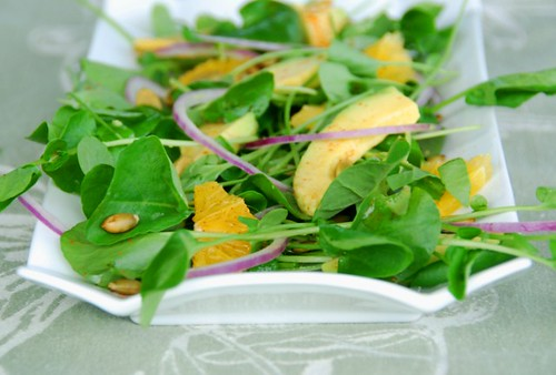 watercress avocado salad center
