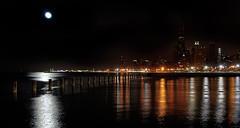 Moon over Chicago (Len Langevin) Tags: fab moon chicago skyline night nikon searstower lakemichigan fullmoon trumptower hdr johnhancockbuilding d300 diamondclassphotographer proudshopper
