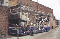Burnt Out. 1 (Lady Wulfrun) Tags: road west bus out birmingham junk burnt works 1994 scrap burned midlands tyburn metrobus mcw nk2 2964 8204 traevl wmpte tracline65 a104wvp