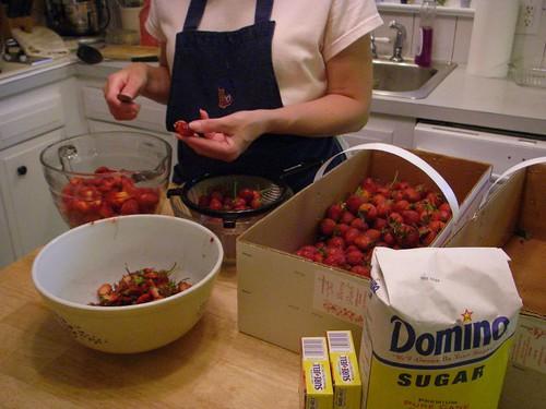 coring strawberries