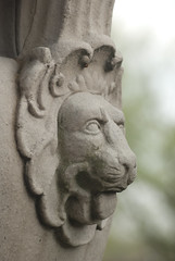Lion in profile (librarianist) Tags: statue urn stone concrete illinois spring decoration lion carving universityofillinois uiuc champaign springtime uofi champaignil