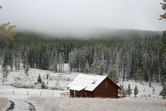 In the Montana Mountains (Kathy~) Tags: trees white house snow mountains fall fog cabin montana grandmother mother september cw thumbsup 2007 bigmomma superhearts photofaceoffplatinum pfogold challengew herowinner ultraherowinner