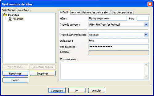 Gestionnaire de sites FileZilla