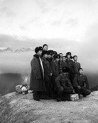 Group of Chinese soldiers at sacred Meili Snow Mountain (mexadrian) Tags: china portrait mountain snow military chinese holy sacred soldiers 6x7 67 meili plaubel makina bwdreams