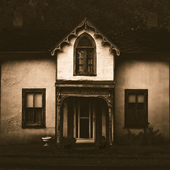 Haunted House (Joel Bedford) Tags: old toronto sepia photoshop bedford design photo joel eerie plaster creepy oldhouse processing expressionism aged jab silentmovie hauntedhouse lightroom treatment dentil monochromia daskabinett expresionistcinema
