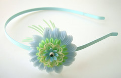 Blue and Green Vintage Flowers Headband