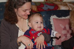 Aunt Beth and cousin Noah on his first Christmas.