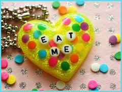 Eat Me (stOOpidgErL) Tags: yellow glitter diy necklace neon candy handmade craft jewelry plastic sprinkles eatme resin dots pendant conversationheart stoopidgerl