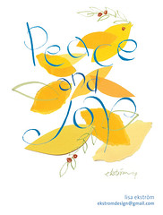 peace and joy (lisa ekstrm) Tags: blue leaves birds yellow illustration paper brush greetings handlettering peaceandjoy