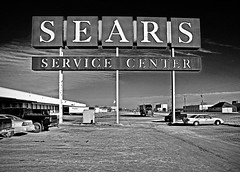 SEARS B&W (FotoEdge) Tags: blackwhite parts sears surreal warehouse kansascity merchandise damaged craftsman desolate wards repairs infared frontstreet servicecenter scratchdent