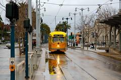 Rainy Day Reflections (ttaammyy) Tags: sanfrancisco reflection rain trolley muni embarcadero ferrybuilding streetcar fline pcc fmarket 1059 msr2009calendarcontest