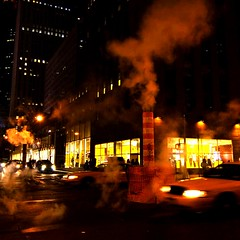 New York at night (Papafrezzo,  2007-2012 by www.papafrezzo.com) Tags: street city nyc newyorkcity orange usa cloud white newyork yellow night speed america dark square evening us nikon cityscape unitedstates streetlights taxi transport wideangle tokina1224 steam tokina busy squareformat mysterious manhole hurry 16mm bigapple vapor mystic ratrace taxicab 1224 taxicabs sodiumvapor manholes streetlighting steamvent tokina1224mmf4 tokina124 tokina1224f4 thecitythatneversleeps tokina1224mm tokinaatx124 sodiumvaporlamp d80 consolidatededison citythatneversleeps ownfav challengeyouwinner cywinner ownfavs tokinaaf1224mmf4 facetheface racetherace papafrezzo
