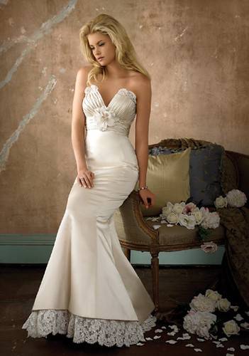 white casual wedding dress with long train