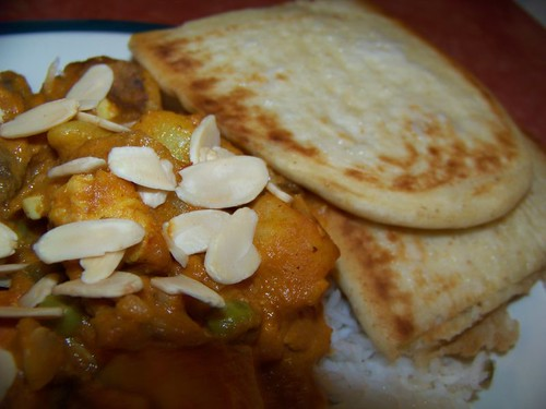 Coconut Chicken Almond Curry with Naan and Basmati Rice