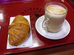 Croissant at a cafe in Geneva Airport