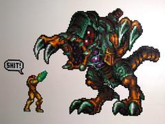 Samus Aran vs Omega Metroid  Bead Sprites (Doctor Octoroc) Tags: videogames metroid samus samusaran metroidfusion hamabeads perlerbeads omegametroid beadsprite doctoroctoroc