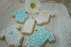 Baby Shower Cookies (irresistibledesserts) Tags: cookies babybottle onesie bbabyshower