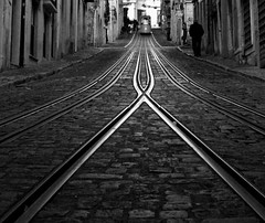 II X II (Sandra_R) Tags: old city bw man portugal lines outdoors blackwhite exterior lisboa lisbon details pb rails ornate railways urbanscenes lx chiado pretobranco bica elevadordabica blueribbonwinner anawesomeshot superbmasterpiece