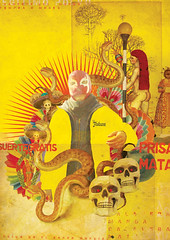 La suerte del Mundo (laprisamata) Tags: colors yellow poster de mexico design los snake dia colores mexican amarillo muertos diseo mata mundo lucha libre cartel calavera serpiente suerte prisa mestizaje fihgt laprisamata
