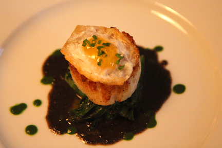 Annisa Restaurant NYC  (13) Scallop with egg and truffle sauce web