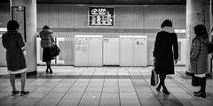 Waiting (GavinZ) Tags: blackandwhite bw monochrome tokyo japan city train subway underground people street wait waiting trainstation platform