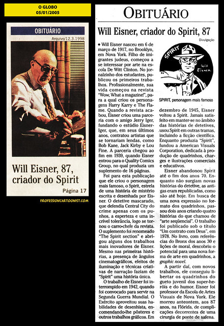 """""""Obituário - Will Eisner"""" - O Globo - 05/01/2005"""