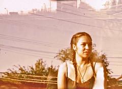 kim and the sky.lines (Ixchel Lara) Tags: film rooftop polaroid losangeles doubleexposure braids fp100c colorenhancement