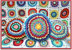 Flower Power Pillows (the garden bell) Tags: friends flower colors circle rainbow pattern crochet pillow yarn barbara cotton streisand