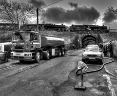 Pitstop at Lightwood (Rustybricko) Tags: monochrome buxton bridges hdr tanker sovereign steamlocomotive lightwood 45231 44871 thesherwoodforester