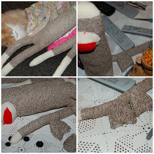 Sock monkey being made