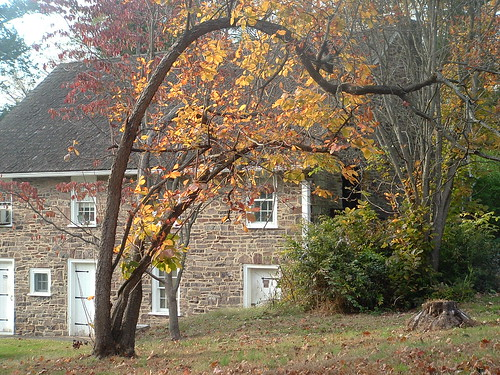 Colonial House in fall