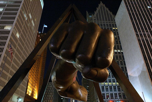 Joe Louis Fist Sculpture in Detroit