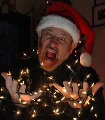 Chuck and the Lights (pshorten) Tags: santa christmas family red portrait white holiday man face hat beard lights head chuck professor