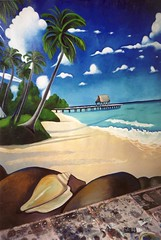 Paysage tropical 1 (superpralinix) Tags: light sea mer landscape mare peinture atelier oiloncanvas pittura tropici