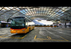 Postauto (Marcel Cavelti) Tags: bus car yellow switzerland chur hdr busstation postauto grisons platinumphoto graubunden