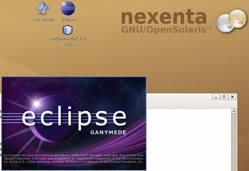 The Ganymede splash-screen on nexenta solaris-gtk-x86.