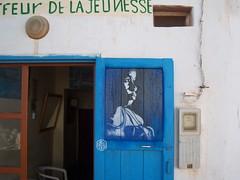C215 - Coiffeur de la Jeunesse - Mirleft (Marocco) (C215) Tags: africa blue portrait streetart art french graffiti stencil christian maroc marocco carf pochoir masacara vando szablon c215 schablon gumy piantillas guemy