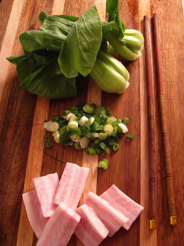 bacon, green onions, shanghai bok choy