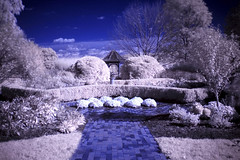The Secret Garden (darth_bayne) Tags: blue trees sky white grass leaves clouds garden ir path bricks gazebo infrared dreamy bushes brickroad hoya72 platinumphoto